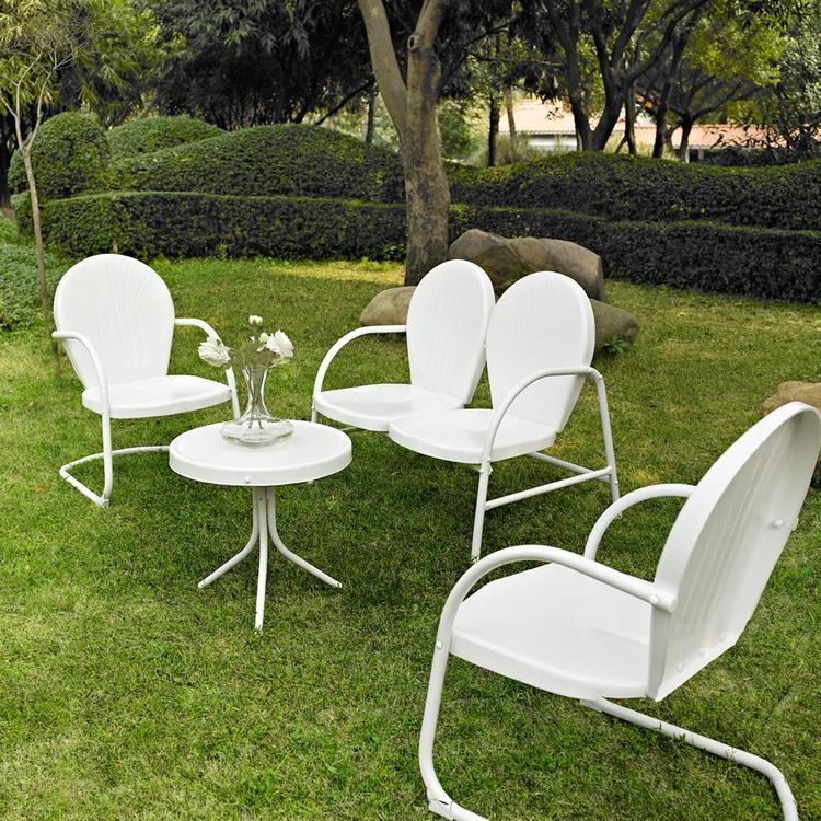 Griffith 4 Piece Metal Outdoor Conversation Seating Set - Loveseat & 2 Chairs in White Finish with Side Table in White Finish