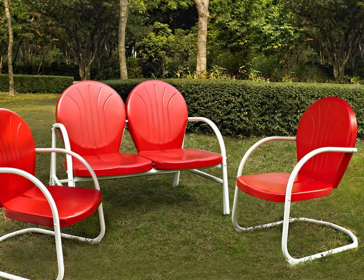 Griffith 3 Piece Metal Outdoor Conversation Seating Set - Loveseat & 2 Chairs