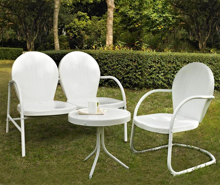 Griffith 3 Piece Metal Outdoor Conversation Seating Set - Loveseat & Chair in White Finish with Side Table in White Finish