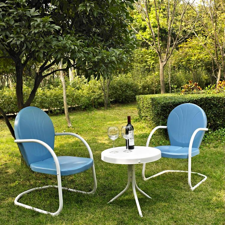 Griffith 3 Piece Metal Outdoor Conversation Seating Set - Two Chairs with Side Table