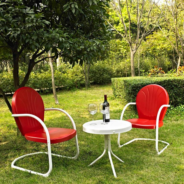 Crosley Griffith 3 Piece Metal Outdoor Conversation Seating Set - Two Chairs