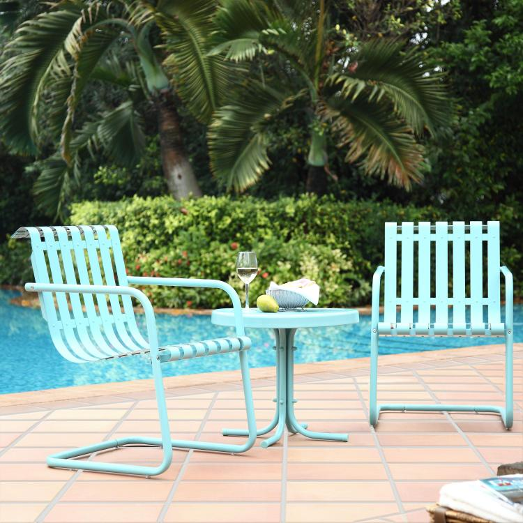 Crosley Gracie 3 Piece Metal Outdoor Conversation Seating Set - 2 Chairs and Side Table in Carribean Blue