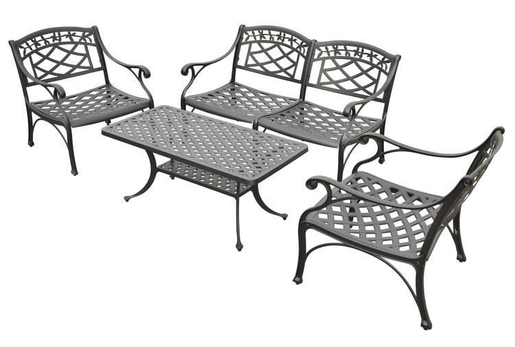 Crosley Sedona 4-Piece Cast Aluminum Outdoor Conversation Seating Set [Item # KO60001BK]