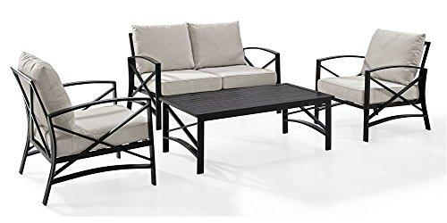 Crosley Kaplan 4 Pc Outdoor Seating Set With Oatmeal Cushion