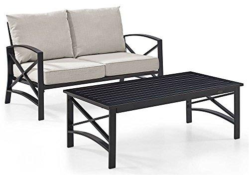 Crosley Kaplan 2 Pc Outdoor Seating Set With Oatmeal Cushion - Loveseat, Coffee Table