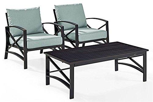 Crosley Kaplan 3 Pc Outdoor Seating Set With Mist Cushion