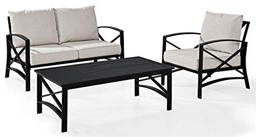 Crosley Kaplan 3 Pc Outdoor Seating Set With Oatmeal Cushion