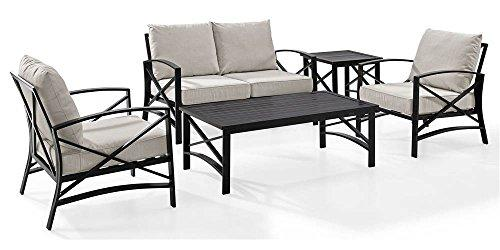 Crosley Kaplan 5 Pc Outdoor Seating Set With Oatmeal Cushion