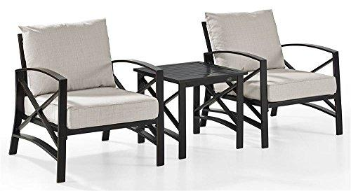 Crosley Kaplan 3 Pc Outdoor Seating Set With Oatmeal Cushion - Two Chairs, Side Table