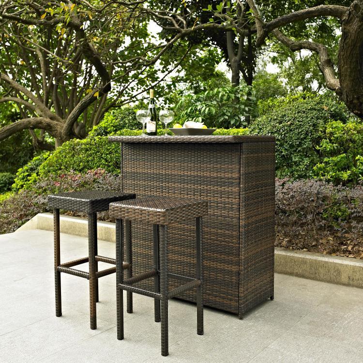 Crosley Palm Harbor 3 Piece Outdoor Wicker Bar Set - Bar & Two Stools