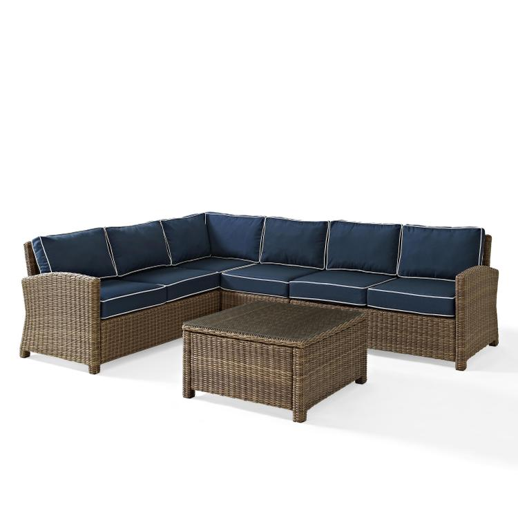 Bradenton 5-Piece Outdoor Wicker Seating Set with Cushions - Right Corner Loveseat, Left Corner Loveseat, Corner Chair, Center Chair, Sectional Glass Top Coffee Table