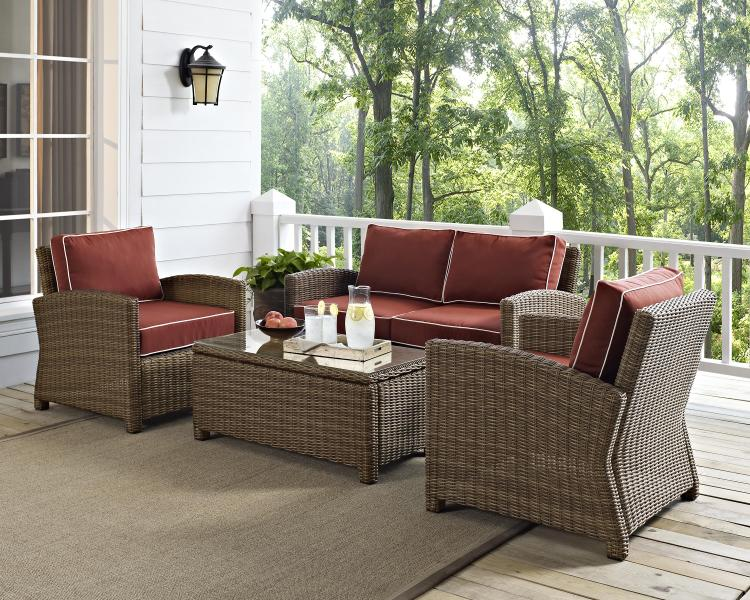 Crosley Bradenton 4 Piece Outdoor Wicker Seating Set With Sangria Cush