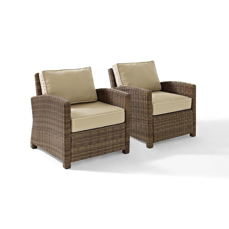 Crosley Bradenton 2 Piece Outdoor Wicker Seating Set With Sangria Cush