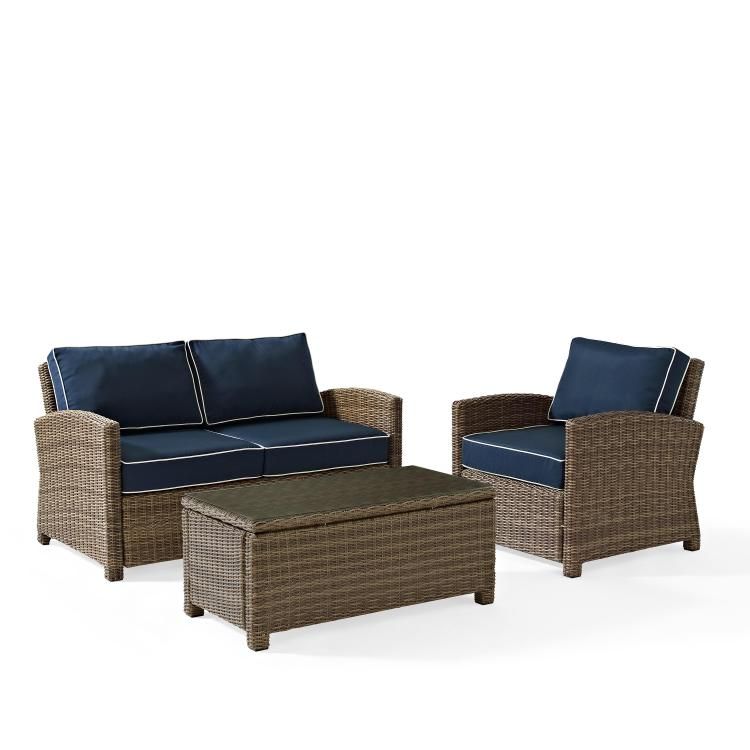 Crosley Bradenton 3 Piece Outdoor Wicker Seating Set With Sangria Cush