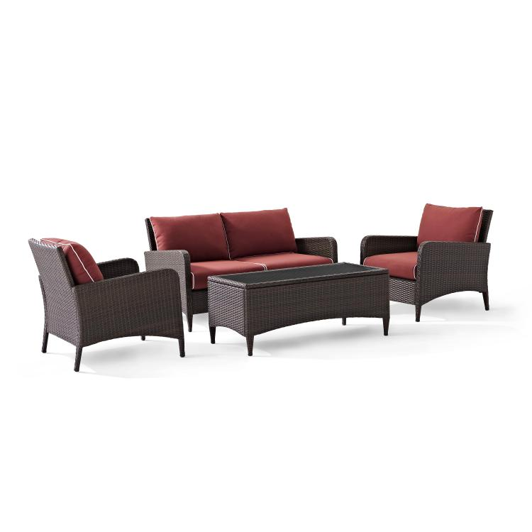 Crosley Kiawah 4 Piece Outdoor Wicker Seating Set With Sangria Cushions