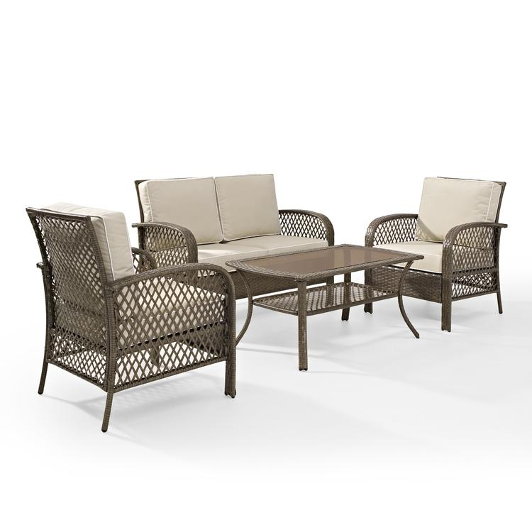 Crosley Tribeca 4-Piece Outdoor Wicker Seating Set