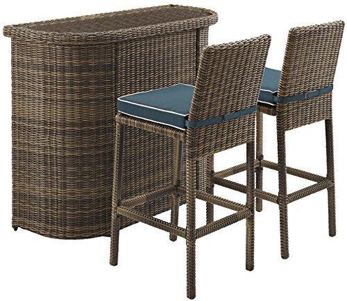 Crosley Bradenton 3 Piece Outdoor Wicker Bar Set - Bar & Two Stools With Navy Cushions