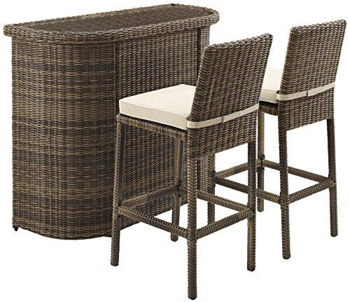 Crosley Bradenton 3-Piece Outdoor Wicker Bar Set - Bar & Two Stools