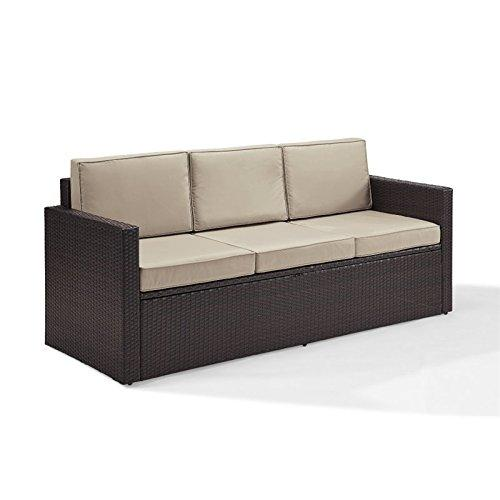Crosley Palm Harbor Outdoor Wicker Sofa In Brown With Sand Cushions