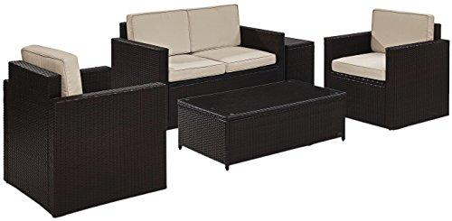 Phenomenal Crosley Palm Harbor 5 Piece Outdoor Wicker Conversation Set With Sand Cushions Loveseat Two Arm Chairs Side Table Glass Top Table Alphanode Cool Chair Designs And Ideas Alphanodeonline