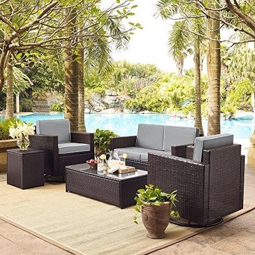 Crosley Palm Harbor 5-Piece Outdoor Wicker Conversation Set With Grey Cushions