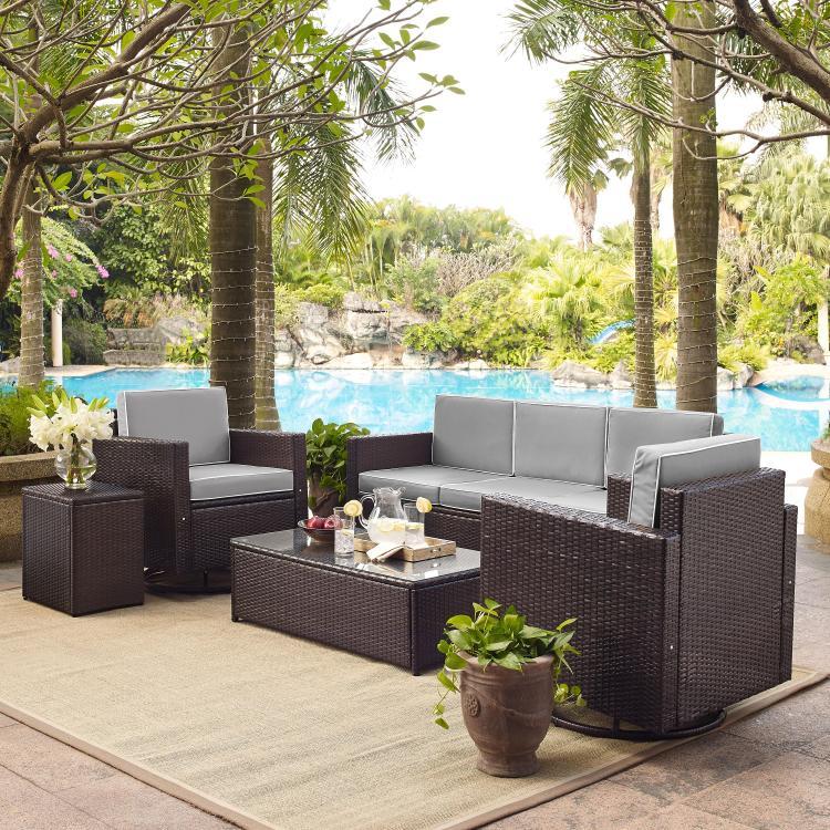 Crosley Palm Harbor 5-Piece Outdoor Wicker Sofa Conversation Set