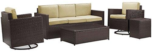 Crosley Palm Harbor 5-Piece Outdoor Wicker Sofa Conversation Set With Sand Cushions