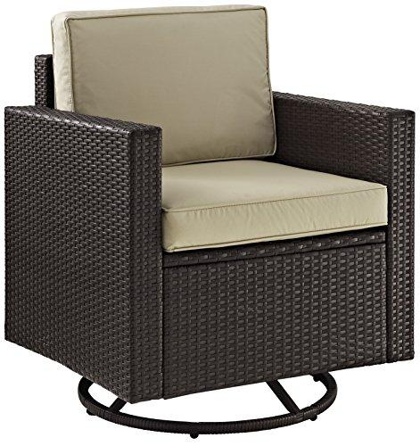 Crosley Palm Harbor Outdoor Wicker Swivel Rocker Chair With Sand Cushions