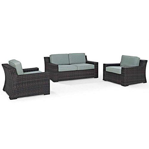 Crosley Beaufort 3 Pc Outdoor Wicker Seating Set With Mist Cushion
