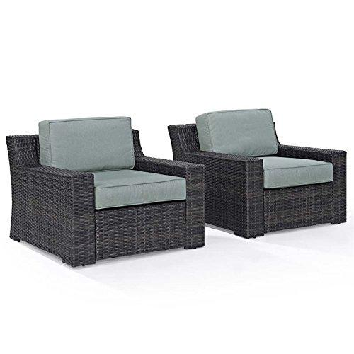 Crosley Beaufort 2 Pc Outdoor Wicker Seating Set With Mist Cushion