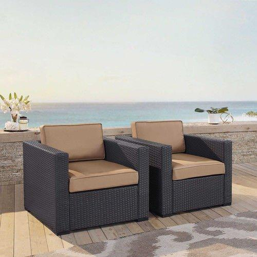 Crosley Biscayne 2 Person Outdoor Wicker Seating Set In Mocha