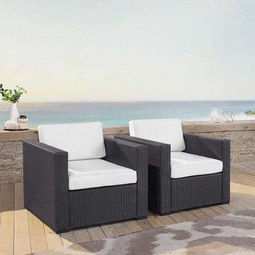 Crosley Biscayne 2 Person Outdoor Wicker Seating Set In White