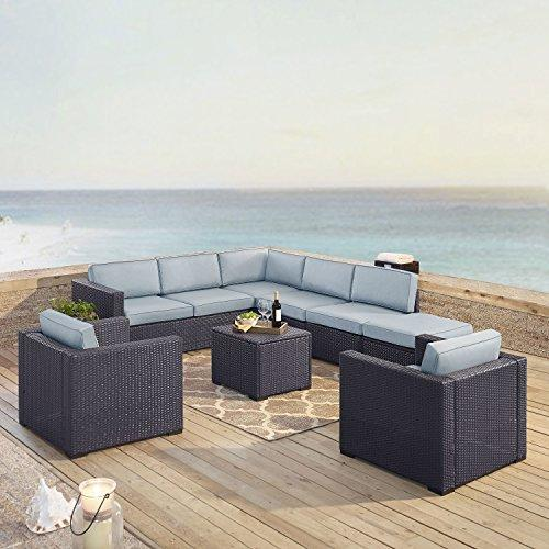 Crosley Biscayne 8 Person Outdoor Wicker Seating Set In Mist