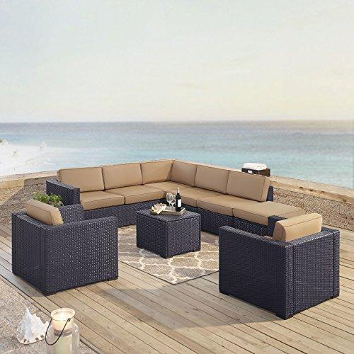 Crosley Biscayne 8 Person Outdoor Wicker Seating Set In Mocha