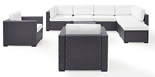 Crosley Biscayne 8 Person Outdoor Wicker Seating Set In White
