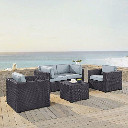 Crosley Biscayne 4 Person Outdoor Wicker Seating Set In Mist