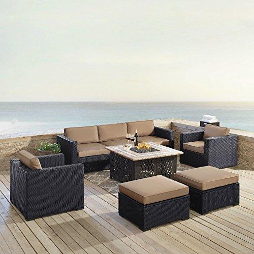 Crosley Biscayne 7 Person Outdoor Wicker Seating Set In Mocha