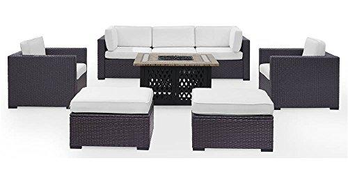 Crosley Biscayne 7 Person Outdoor Wicker Seating Set In White