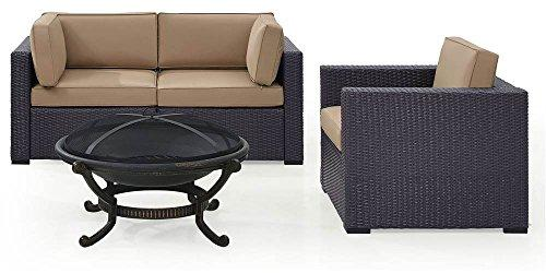 Crosley Biscayne 3 Person Outdoor Wicker Seating Set In Mocha