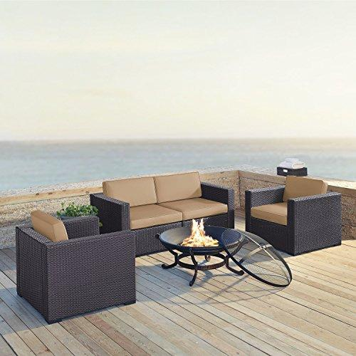 Crosley Biscayne 4 Person Outdoor Wicker Seating Set In Mocha