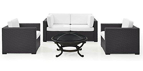 Crosley Biscayne 4 Person Outdoor Wicker Seating Set In White