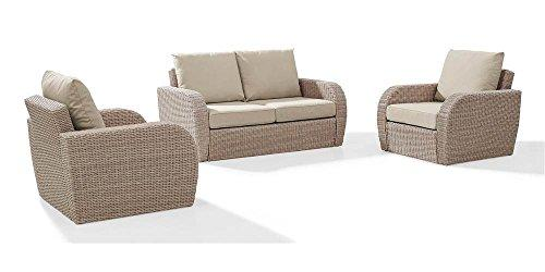 Crosley St Augustine 3 Pc Outdoor Wicker Seating Set With Oatmeal Cushion