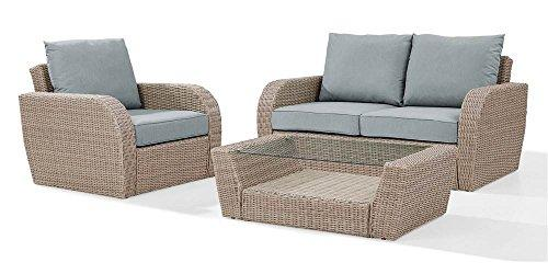 Crosley St Augustine 3 Pc Outdoor Wicker Seating Set With Mist Cushion