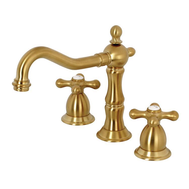 Kingston Brass KS1977AX 8-Inch Widespread Lavatory Faucet, Satin Brass