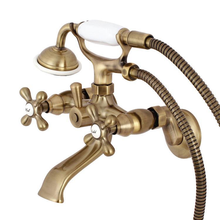 Kingston KS265AB 6-In Adjustable Centers Wall Mount Tub Filler, Vintage Brass