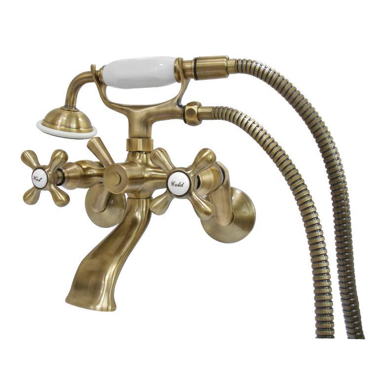 Kingston Brass KS266AB Wall Mount Tub Filler With Hand Shower, Vintage Brass