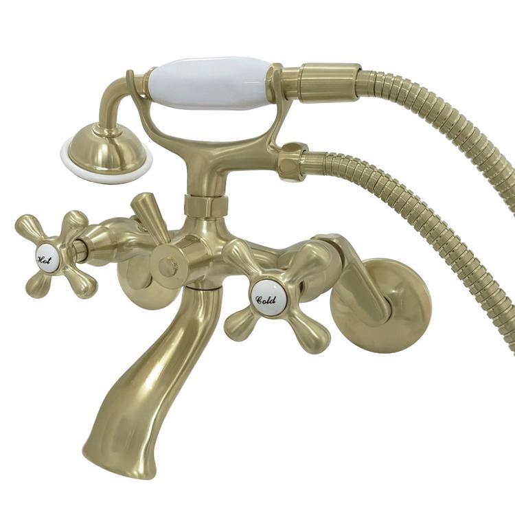 Kingston Brass KS266SB Wall Mount Clawfoot Tub Faucet with Hand Shower, Satin Brass