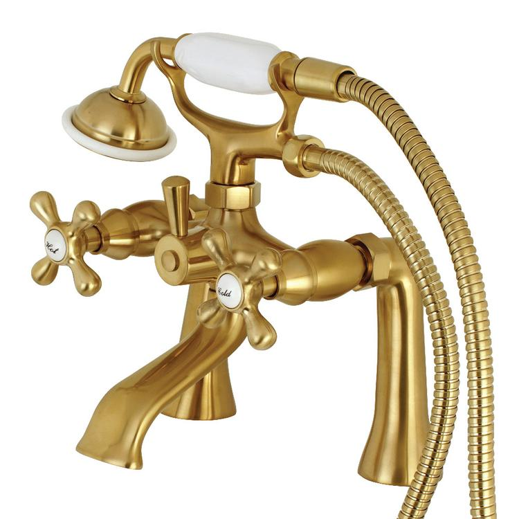 Kingston Brass KS268SB Deck Mount Clawfoot Tub Faucet with Hand Shower, Satin Brass