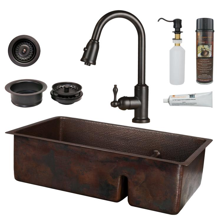 Premier Copper Products - KSP2_K70DB33199-SD5 Kitchen Sink, Faucet and Accessories Package