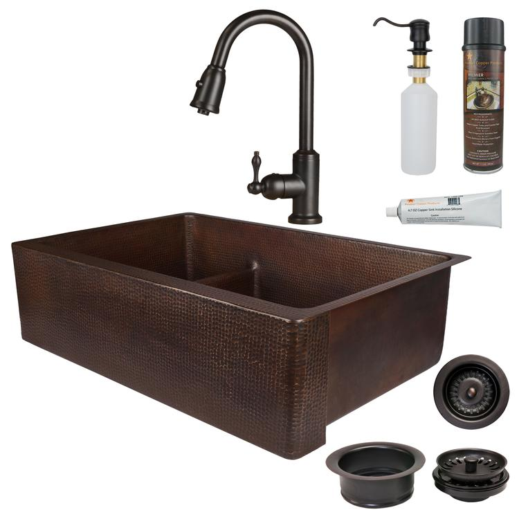 Premier Copper Products - KSP2_KA30DB33229-SD5 Kitchen Sink, Faucet and Accessories Package